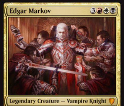 統率者2017「エドガー・マルコフ」が公開!6マナ4/4「先制攻撃」「速攻」&攻撃時に全吸血鬼に+1/+1カウンターを付与!能力「威光」では、吸血鬼を唱えるたびに1/1の吸血鬼トークンを生成!