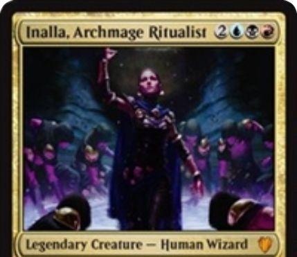 グリクシス色の伝説神話ウィザード「Inalla, Archmage Ritualist」が公開!ウィザードが戦場に出るたびに追加1マナを支払えば速攻持ちコピーを生成する「威光」能力!5体のウィザードをタップすることで7点ライフロスさせる能力も!