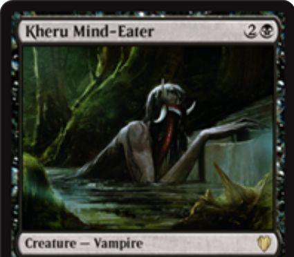 黒の吸血鬼「Kheru Mind-Eater(統率者2017)」が公開!3マナ1/3「威迫」に加え、戦闘ダメージをプレイヤーに与えると手札を1枚裏向きにして追放!あなたはそのカードを見てよく、プレイも可能!