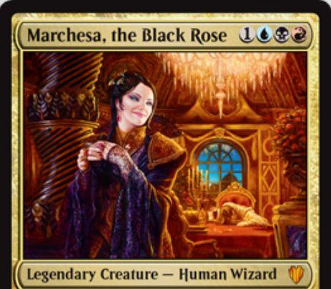 コンスピラシー「黒薔薇のマルチェッサ」が統率者2017で再録決定!グリクシス色の「廃位」能力を持つ伝説神話ウィザード!
