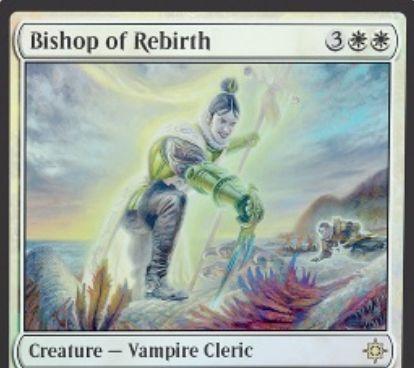 イクサラン「Bishop of Rebirth」がスポイラー公開!白白3で3/4「警戒」に加え、攻撃時に墓地からマナコスト3以下のクリーチャーをリアニメイトする吸血鬼クレリック!