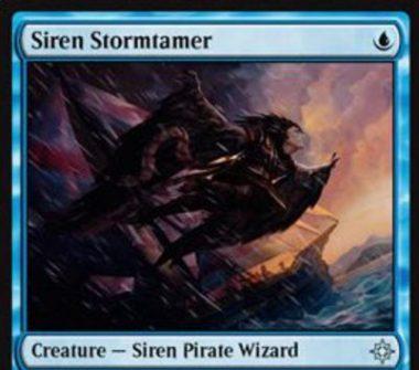 青アンコのセイレーン「Siren Stormtamer(イクサラン)」が公開!1マナ1/1「飛行」に加え、青マナ1点を支払って生贄に捧げることであなたかあなたがコントロールするクリーチャーを対象にする呪文や能力を打ち消す!