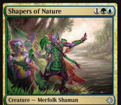 シミック色のマーフォーク「Shapers of Nature(イクサラン)」が公開!3マナ3/3&緑3でクリーチャー1体に+1/+1カウンターを置き、青2で+1/+1カウンターを取り除いて1ドロー!