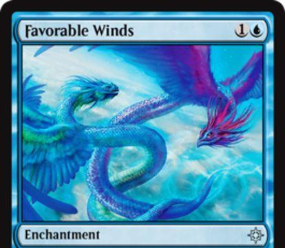 青アンコのエンチャント「Favorable Winds」が公開!青1で設置し、自軍の飛行持ちに+1/+1の修正を付与する全体強化エンチャント!