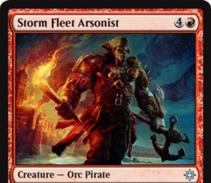赤アンコの海賊オーク「Storm Fleet Arsonist」が公開!赤4で4/4&強襲条件を達成した状態で戦場に出ると、対戦相手にパーマネントの生贄を強制!