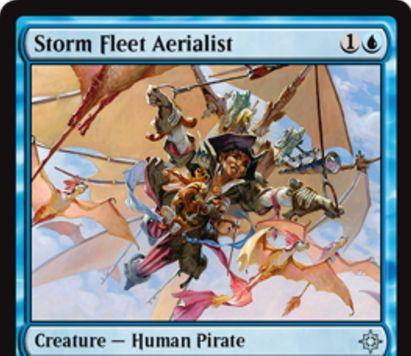 青アンコの海賊人間「Storm Fleet Aerialist」が公開!2マナ1/2「飛行」&強襲達成で戦場に出ると+1/+1カウンターを1個獲得!