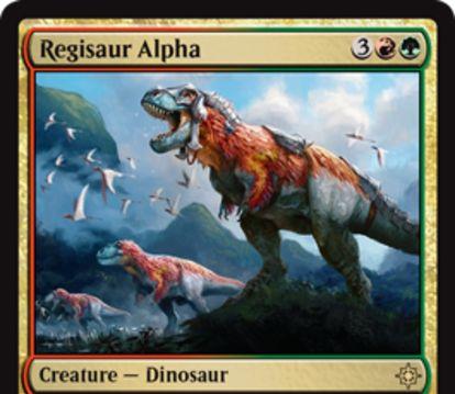 グルール色のレア恐竜「Regisaur Alpha」が公開!赤緑3で4/4&他の恐竜に「速攻」を付与&CIPで3/3トランプルの恐竜トークン生成!