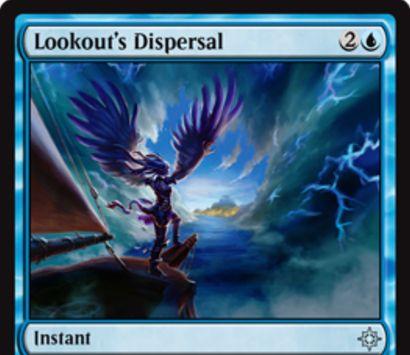 青アンコの打ち消し「Lookout's Dispersal」が公開!青2で相手に追加マナを要求する不確定カウンター!さらに自軍に海賊がいれば不特定マナコストが1点軽減される!