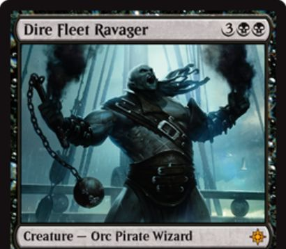 イクサランの黒神話生物「Dire Fleet Ravager」が公開!黒黒3で4/4「威迫」「接死」に加え、CIPで対戦相手の1/3のライフを奪うオーク海賊ウィザード!