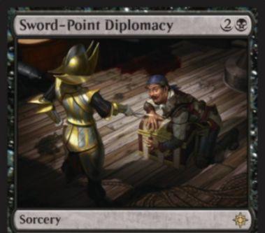 黒レアのソーサリー「Sword-point Diplomacy(イクサラン)」が公開!黒2でライブラリートップ3枚を公開し、それぞれにつき対戦相手が3ライフを支払わなければ手札に加える!