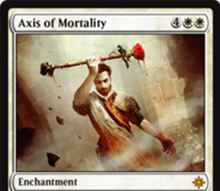 イクサランの白神話エンチャント「Axis of Mortality」が公開!白白4で設置して以降、自アップキープ開始時に2人のプレイヤーのライフを任意で交換可能に!