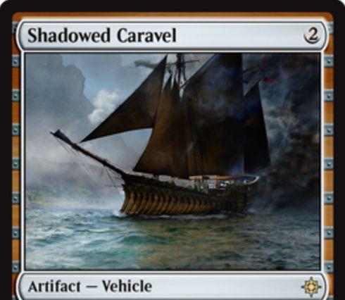イクサランのレア機体「Shadowed Caravel」が公開!2マナ「搭乗2」で2/2&自軍クリーチャーが「探検」するたびに+1/+1カウンターを獲得!