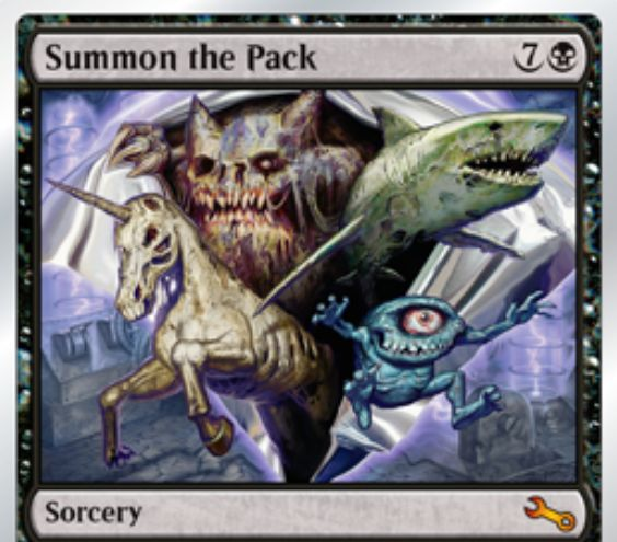 Unstableの神話レア「Summon the Pack」が公開!黒7でマジックのブースターパックを開封!その中の全クリーチャーをゾンビタイプを加えて戦場に出す!