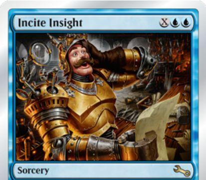 Unstableにレア収録の青ソーサリー「Incite Insight」が公開!青青XでX個の「からくり」を組み立てる!