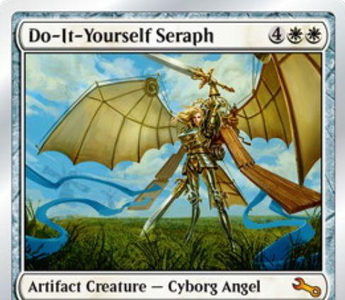 Unstable収録の白神話天使「DIY熾天使(Do-It-Yourself Seraph)」が公開!攻撃時にライブラリーからアーティファクトを1枚追放し、そのカードのテキストを追加で獲得する!