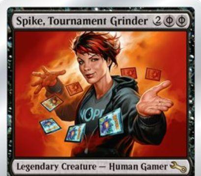 Unstable収録の人間ゲーマー「Spike, Tournament Grinder」が公開!黒のファイレクシア・マナ4点を支払うことでゲーム外の禁止カードや制限カードを手札に加える!