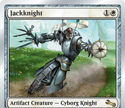 Unstableにレアで収録の白サイボーグ騎士「Jackknight」が公開!アーティファクトが戦場に出るたび+1/+1カウンターを獲得!それが「からくり」なら追加で絆魂もゲット!