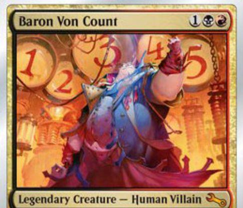 黒赤の伝説神話ヴィラン「Baron Von Count(Unstable)」が公開!特殊条件達成で「プレイヤー」を「破壊」する特殊勝利能力を持った一枚!