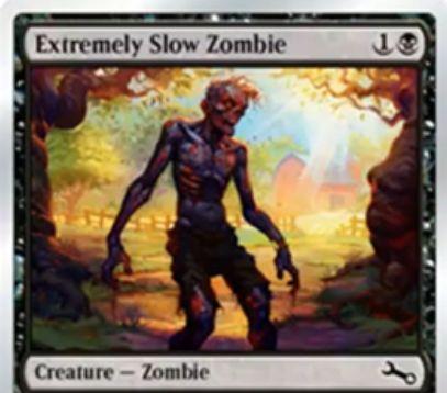 黒コモンのゾンビ「Extremely Slow Zombie(Unstable)」が公開!2マナ3/3だが、能力「Last strike」によってダメージを与えるタイミングが遅くなる!