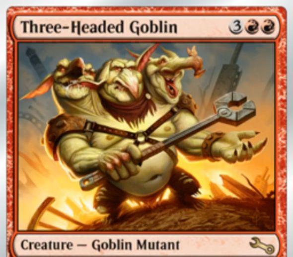 赤のゴブリン・ミュータント「Three-Headed Goblin(Unstable)」が公開!能力「Triple strike(三段攻撃)」により、1度の戦闘で「先制攻撃ダメージ」&「通常ダメージ」&「last-strikeダメージ」を与える!