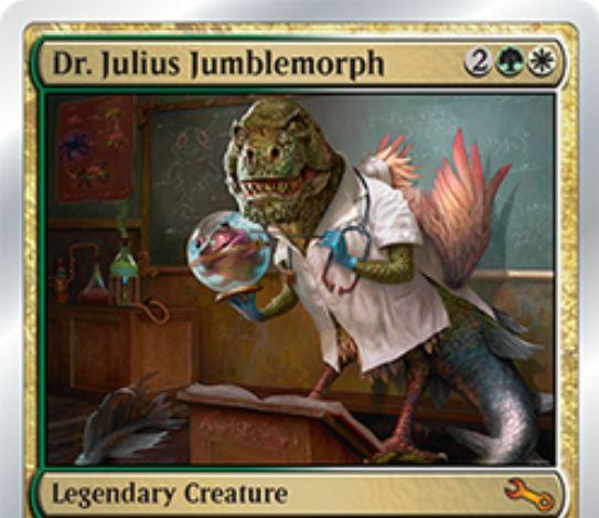 白青の伝説神話クリーチャー「Dr. Julius Jumblemorph(Unstable)」が公開!戦場に「host」が出るたび、ライブラリーや墓地から「augment」を持つカードを探して「host」と「combine」する!