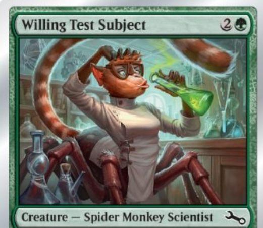 Unstable収録のクモザル科学者「Willing Test Subject」が公開!ダイスで4以上が出るたびに+1/+1カウンターを獲得!不特定6マナを支払えばいつでもダイスをふれる!