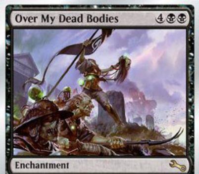 Unstableの黒エンチャント「Over My Dead Bodies」が公開!墓地のクリーチャー同士が戦場にあるかのようにアタックとブロックし合えるようになる!
