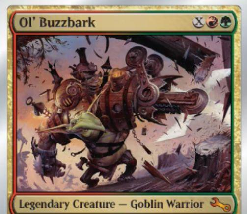 Unstable収録の伝説神話ゴブリン戦士「Ol' Buzzbark」が公開!赤緑Xで唱え、X個の6面ダイスをXインチの高さから投げる!ダイスが触れた自軍クリーチャーにダイスの目に等しい+1/+1カウンターを与え、ダイスが触れた相手のクリーチャーにはダイスの目に等しいダメージを与える!