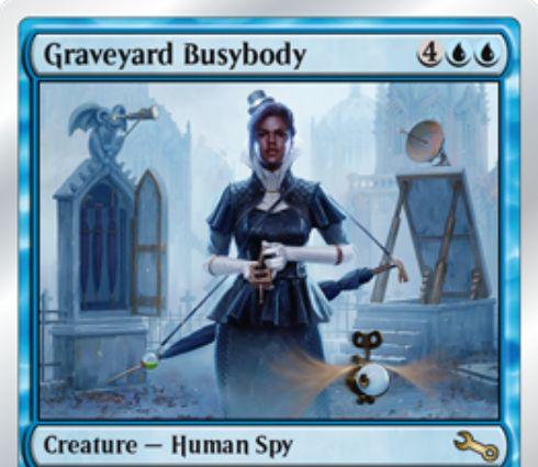 Unstable収録の青レア人間スパイ「Graveyard Busybody」が公開!全墓地をあなたの墓地として扱えるようになり、全墓地にあるフレイバー・テキストを持つカードと同数のパワー&タフネスを持つクリーチャー!