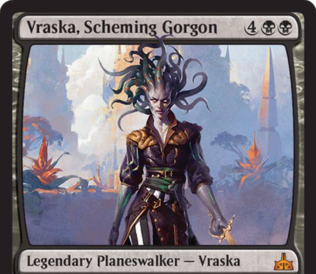 【イクサランの相克】黒単のPWヴラスカ「 Vraska Scheming Gorgon」が非公式スポイラーに掲載!最終奥義では自軍全クリーチャーに接死とプレイヤーダメージを与えた際にそのプレイヤーを敗北させる能力を付与!