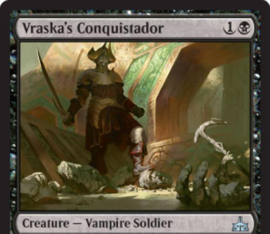 【イクサランの相克】ヴラスカの名を冠する吸血鬼騎士「 Vraska's Conquistador」が公開!2マナ2/1&PWヴラスカをコントロールした状態でアタックかブロックに参加するとプレイヤーへの2点ドレインを誘発!