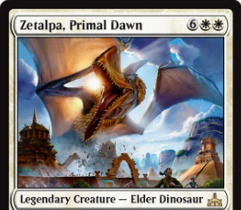 【イクサランの相克】白レアの伝説エルダー恐竜「Zetalpa, Primal Dawn」が公開!8マナ4/8&飛行&二段攻撃&警戒&トランプル&破壊不能のキーワード能力満載クリーチャー!