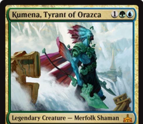 【イクサランの相克】緑青伝説神話のマーフォーク「Kumera, Tyrant of Orazca」が公開!緑青1で2/4のP/Tを持ち、他のマーフォークをタップすることで3種の能力を起動可能!