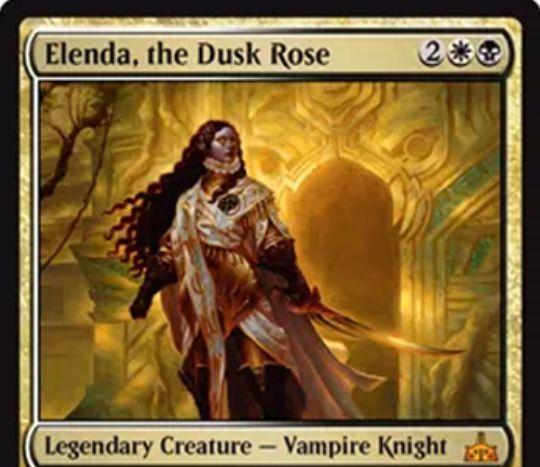 【イクサランの相克】白黒伝説神話の吸血鬼騎士「Elenda, the Dusk Rose」が公開!4マナ1/1「絆魂」&他のクリーチャーが死亡するたび+1/+1カウンターを獲得&死亡時に自身のパワーに等しい数の1/1「絆魂」吸血鬼トークンを生成!