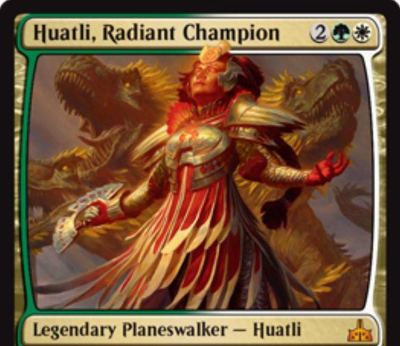 緑白のPWファートリ「Huatli, Radiant Champion(イクサランの相克)」が公開!【+1】で自軍クリーチャーの数だけ忠誠カウンターを獲得!【-1】で対象のクリーチャーをターン終了時まで自軍クリーチャーの総数だけP/T強化!【-8】で自軍にクリーチャーが出るたびにドローをもたらす緑白2で初期忠誠値3のプレインズウォーカー!
