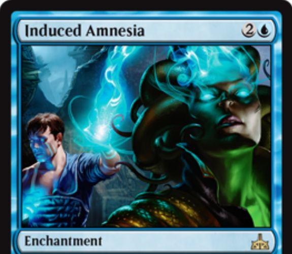 Induced Amnesia(イクサランの相克)が公開!青2で設置するエンチャントで、戦場に出た際に対象のプレイヤーの手札を裏向きで追放しつつそのプレイヤーは同数のカードをドロー!このカードが戦場から墓地に置かれたら追放されたカードはオーナーの手札に戻る!