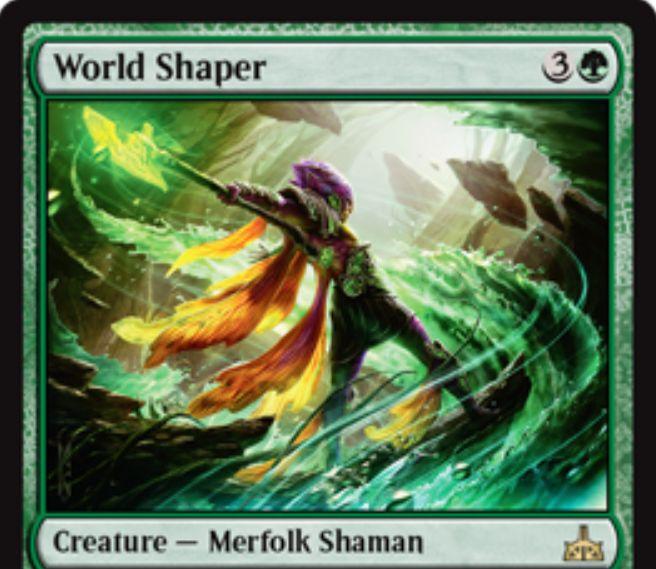 World Shaper(イクサランの相克)が公開!4マナ3/3&アタック時にライブラリートップ3枚を墓地送り&死亡時に自墓地の全土地をタップ状態で戦場に出す緑レアのマーフォーク・シャーマン!