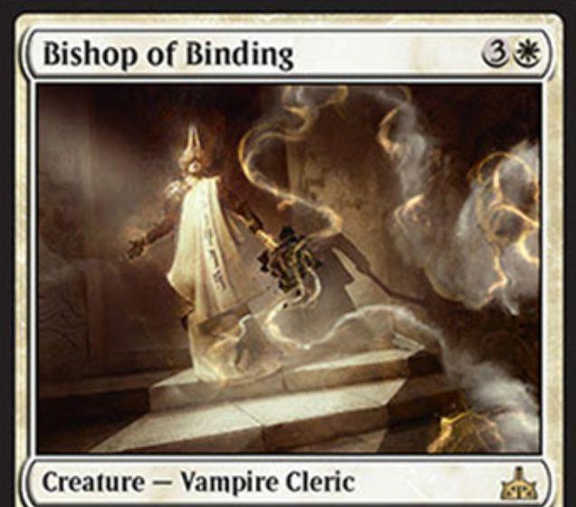 Bishop of Binding(イクサランの相克)が公開!4マナ1/1&CIPでクリーチャー1体を一時追放&アタック時に吸血鬼1体を追放したクリーチャーのパワー点数だけ+X/+Xする白レアの吸血鬼クレリック!