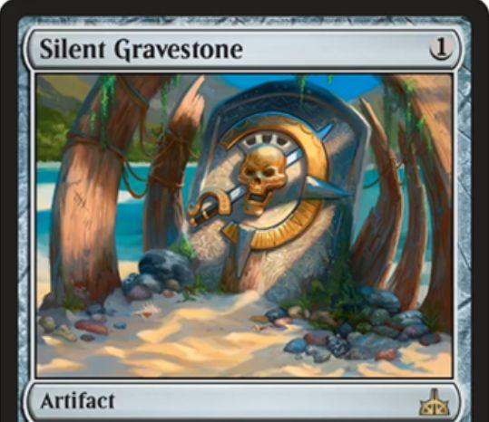 Silent Gravestone(イクサランの相克)が公開!1マナで設置し、墓地のカードを呪文や能力の対象にならなくする!4マナ&タップでこのカードと全墓地のカードを起動しつつドローする起動型能力も持ったアーティファクト!