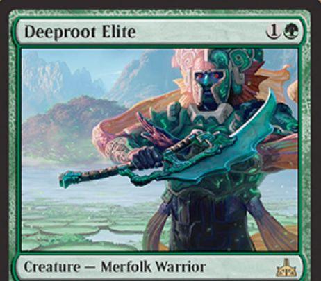 Deeproot Elite(イクサランの相克)が公開!緑1で1/1&他のマーフォークが戦場に出るたび、対象のマーフォークに+1/+1カウンターを与える!