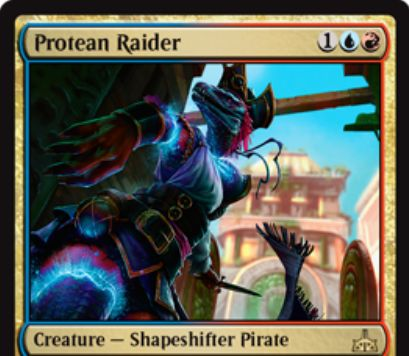 Protean Raider(イクサランの相克)が公開!青赤1で2/2の多相の海賊!強襲条件を達成しているなら、戦場にいるクリーチャーのコピーとして戦場に出すことも可能!