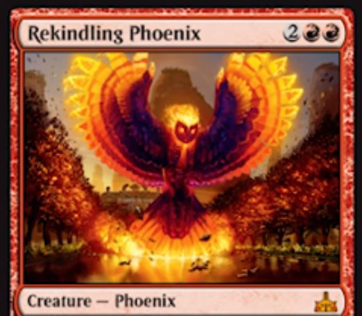 Rekindling Phoenix(イクサランの相克)が公開!4マナ4/3飛行の赤神話フェニックス!死亡時には0/1で次の自アップキープ開始時に墓地のこのカードを戦場に戻せるエレメンタルトークンを生成する!