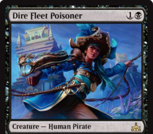 Dire Fleet Poisoner(イクサランの相克)が公開!2マナ2/2瞬速・接死に加え、戦場に出た際に攻撃している海賊クリーチャーを対象にとって+1/+1の修正と接死を与える!