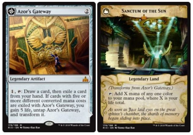 伝説神話アーティファクト「Azor's Gateway」が公開!2マナで設置し、1マナとタップでカードを1枚引いてから手札1枚を追放!この効果で5マナ以上のカードが追放されたら5点ライフゲインしつつ「Sanctum of the Sun」に変身!変身後はタップであなたのライフ点数に等しい好きな色マナを生産!