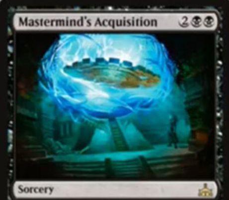 黒レアのソーサリー「Mastermind's Acquisition(イクサランの相克)」が公開!黒黒2でライブラリーかゲーム外からカード1枚をサーチして手札に加える!