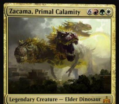 ナヤ色の伝説エルダー恐竜「Zacama, Primal Calamity(イクサランの相克)」が公開!9マナ9/9で警戒・到達・トランプルを持ち、唱えて戦場に出たなら自軍の全土地をアンタップ!ナヤ3色に対応した3種の起動型能力も!