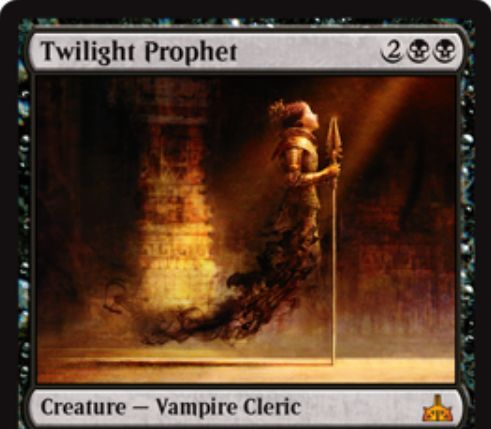 Twilight Prophet(イクサランの相克)が公開!黒黒2で2/4飛行の神話吸血鬼!都市の承認を得ると、自アップキープにライブラリートップを公開して手札に加え、そのカードのマナ点数だけライフをドレインする!