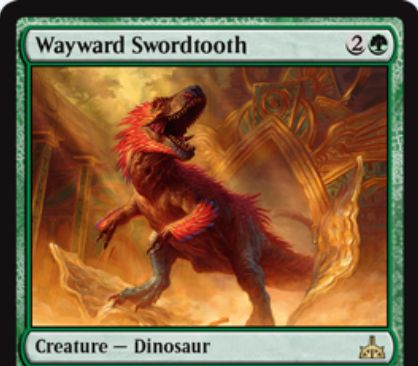 Wayward Swordtooth(イクサランの相克)が公開!3マナ5/5&毎ターン追加の土地をプレイ可能にするが、都市の承認が無いと攻撃もブロックもできない緑レアの恐竜クリーチャー!