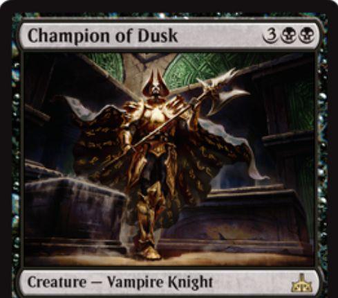 Champion of Dusk(イクサランの相克)が公開!5マナ4/4&戦場に出た際に自軍吸血鬼の数だけカードを引きつつ同数のライフを失う!