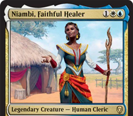 【ドミナリア】Niambi, Faithful Healerが公開!白青1で2/2&CIPで「時を曲げる者、テフェリー」をデッキや墓地からサーチする伝説の人間・クレリック!